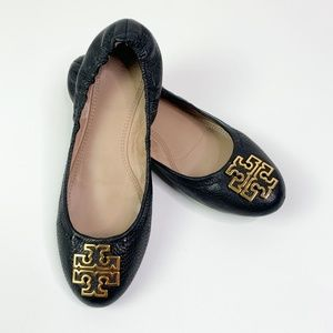 Tory Burch Melinda Black Tumbled Leather Flat 8.5